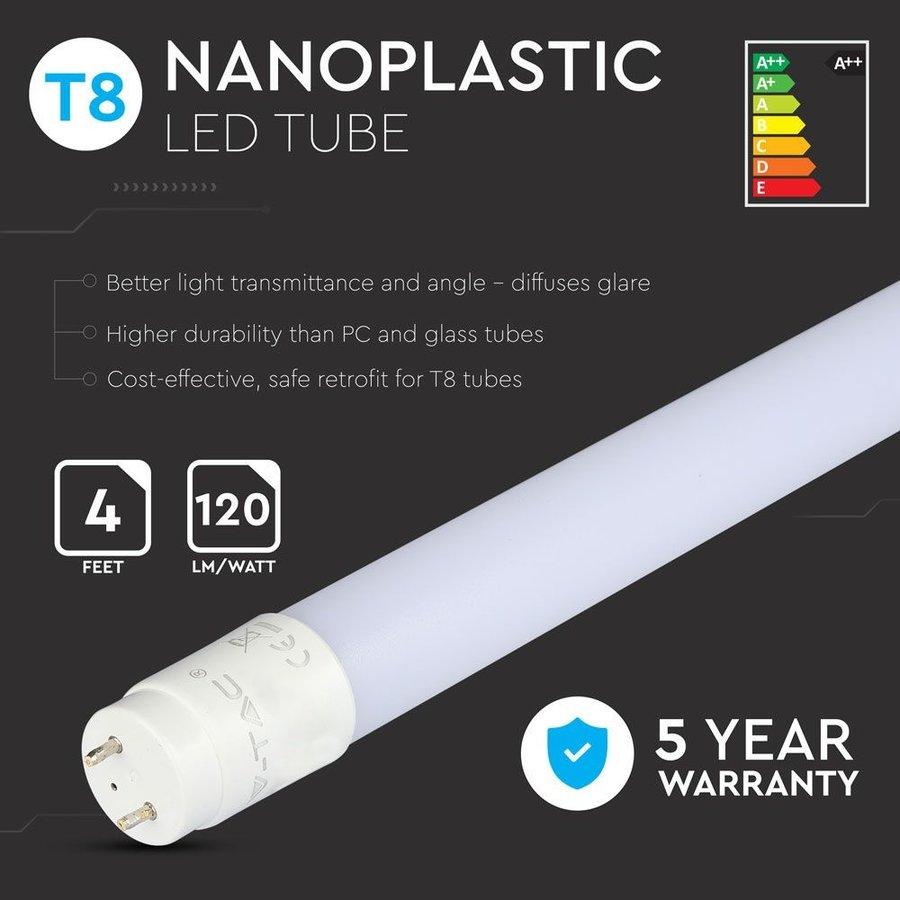 10x LED T8 TL buis 120 cm 18 Watt 2250lm 3000K 5 jaar garantie Samsung High Lumen incl. starter