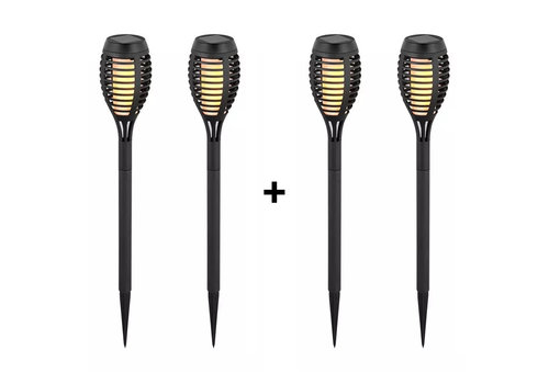 V-TAC LED Solar lamp garden torch with flame effect 2200K IP44 4-PACK (50cm)