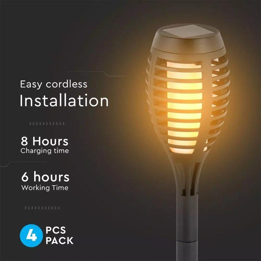16-PACK Youth Fire LED Solarlamp tuinfakkel met vlammeneffect incl. schemersensor 2200K IP44 (50cm)