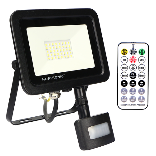 HOFTRONIC™ LED Floodlight with twilight switch 30 Watt 6400K Osram IP65 replaces 270 Watt