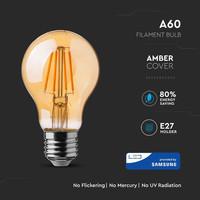 LED Filament lamp E27 6 Watt A60 Amber cover 2200K Samsung