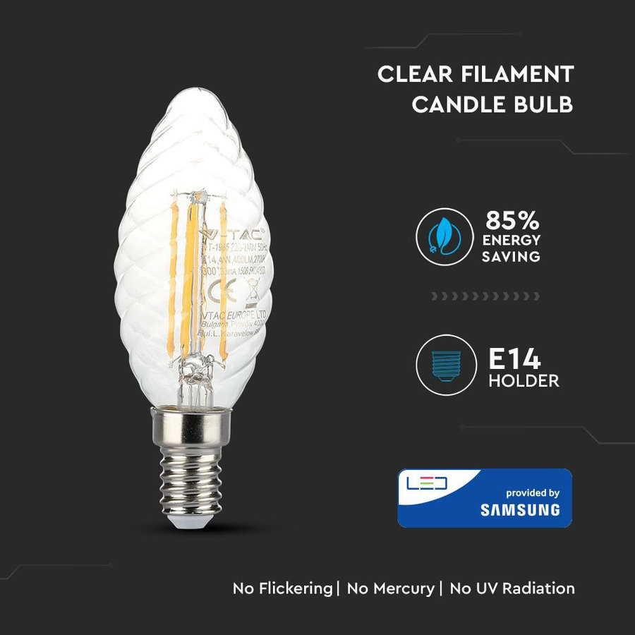 LED Filament lamp 4 Watt E14 2700K transparant glas Samsung