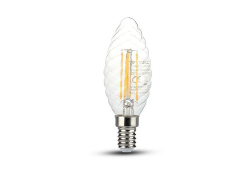 V-TAC LED Lamp candle twist with Samsung chip 4 Watt E14 2700K clear glass
