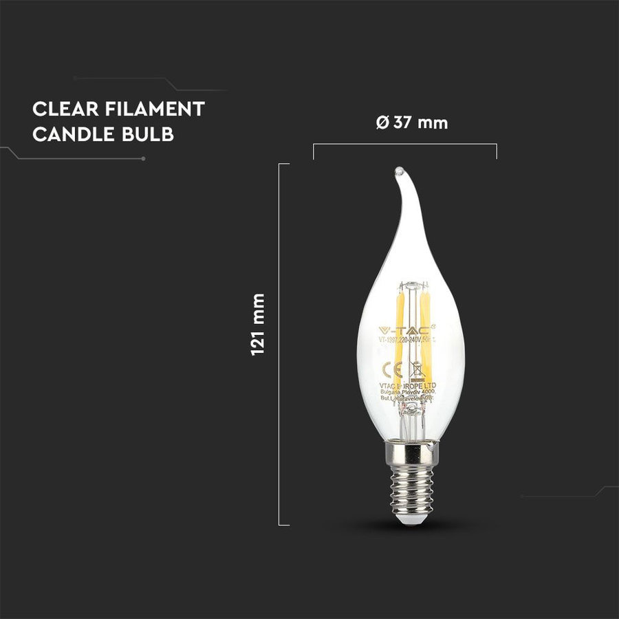 LED Filament lamp 4 Watt E14 2700K Samsung chip