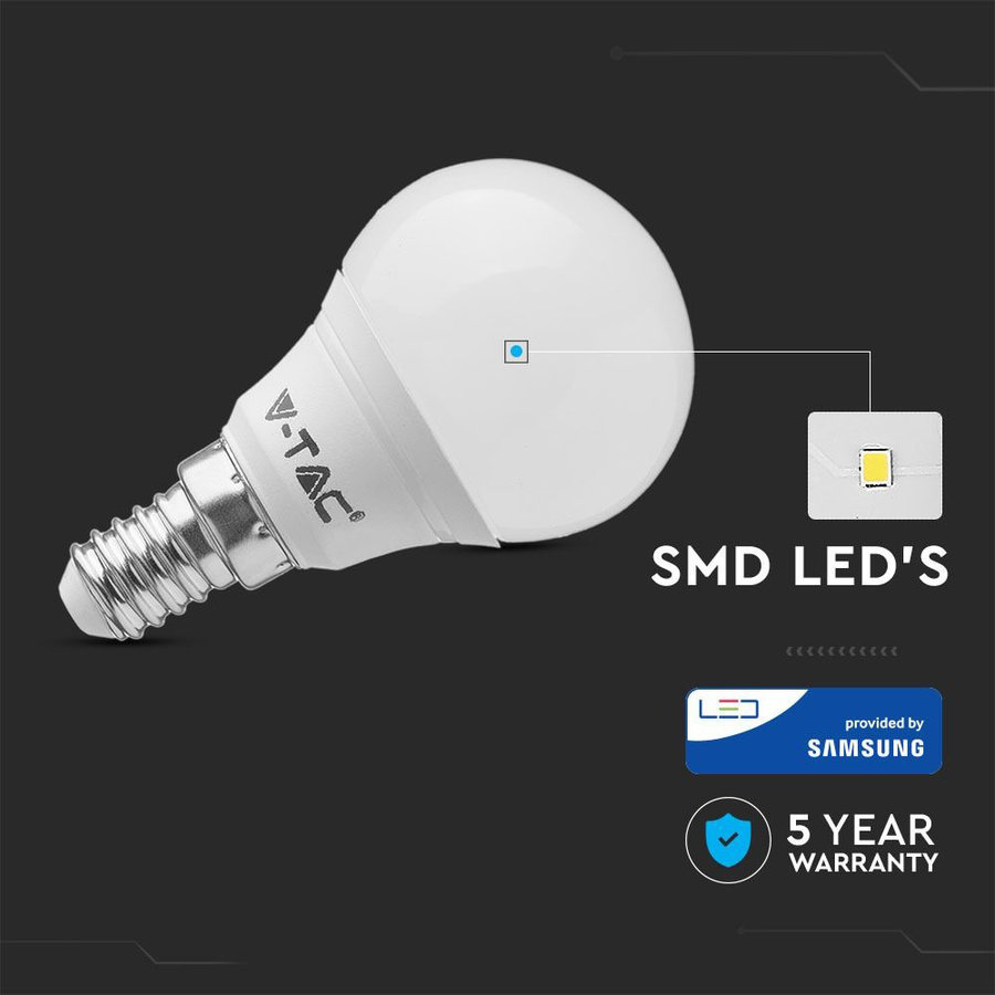 LED Lamp met Samsung chip 7 Watt E14 P45 Plastic 6400K