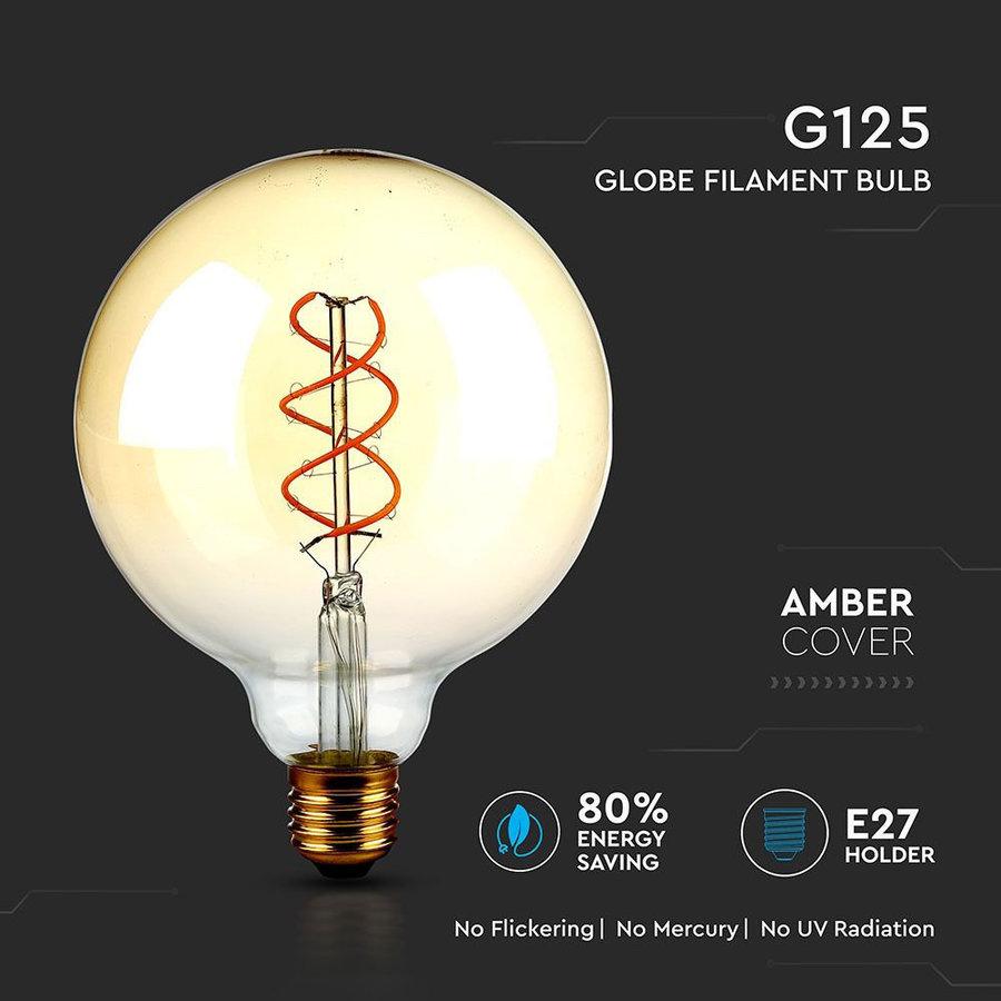 LED Filament lamp XXL Cayo Amber glas met gloeidraad 5 Watt E27 G15 2200K dimbaar