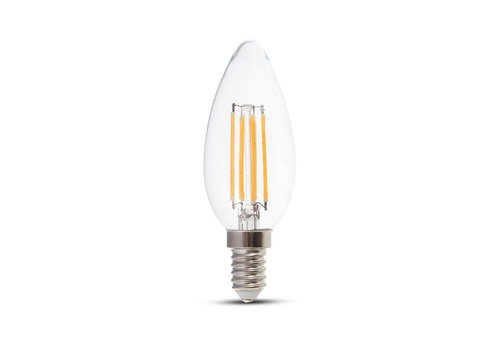 V-TAC LED bulb candle with Samsung chip 4 Watt E14 2700K clear glass