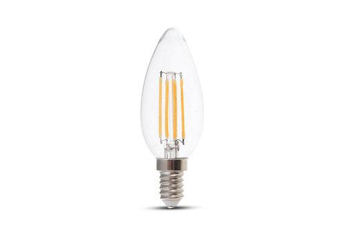 V-TAC LED Lamp candle met Samsung chip 4 Watt E14 2700K doorzichtig glas