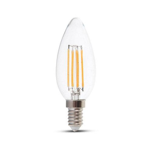 V-TAC LED Filament lamp 4 Watt E14 2700K doorzichtig glas Samsung