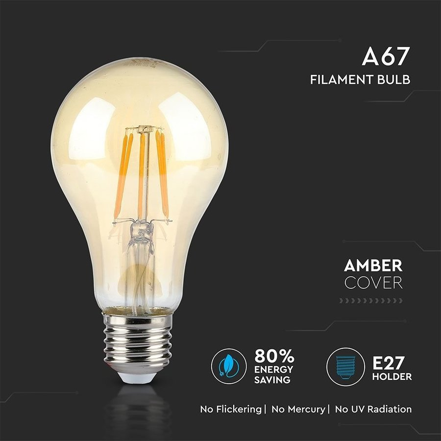 LED Filament lamp XL Dao Amber glas 10 Watt E27 A67 2200K