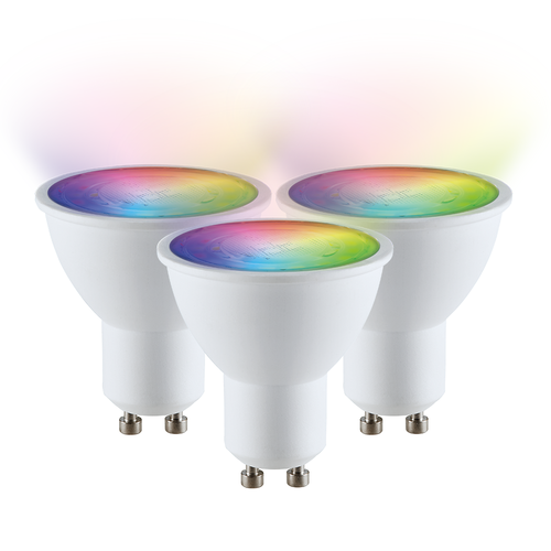 V-TAC Set of 3 GU10 SMART LED RGBWW Wifi 5 Watt 400lm 110° Dimmable