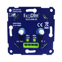EcoDim ECO-DIM.05 led duo dimmer fase afsnijding  2x100W maximaal