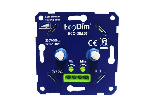 Ecodim EcoDim ECO-DIM.05 led duo dimmer fase afsnijding 2x100W maximaal