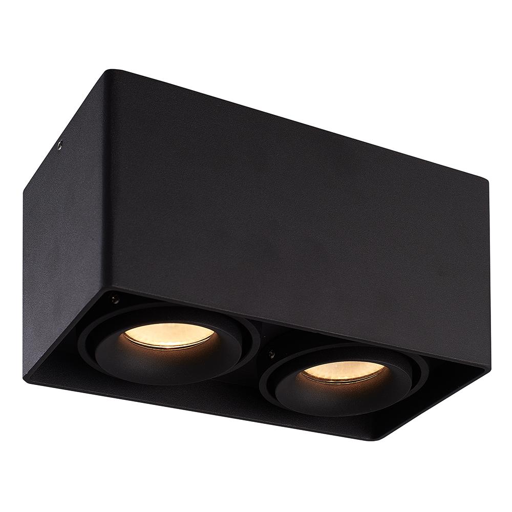 Dimbare LED Opbouwspot plafond Esto Zwart 2 lichts kantelbaar incl. 2x GU10 spot 5W 4000K