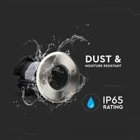 3x Grondspot RVS rond 5W 6000K IP65 waterdicht 3 jaar garantie