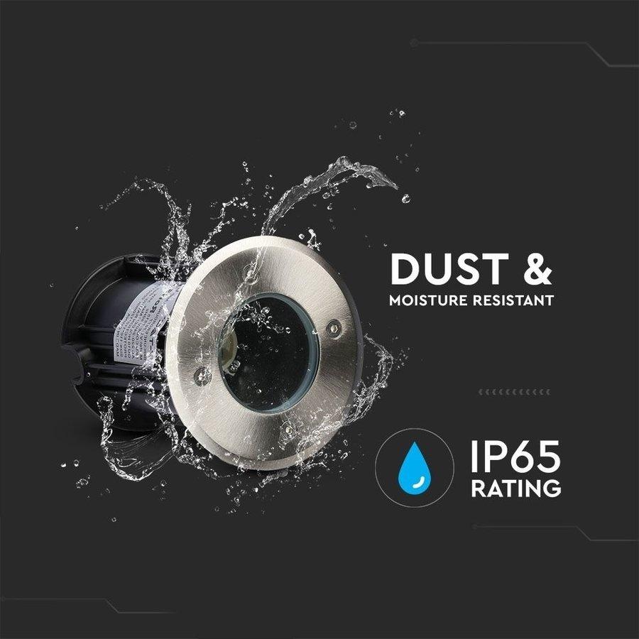 6x Grondspot RVS rond 5W 6000K IP65 waterdicht 3 jaar garantie