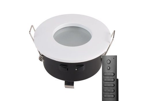 HOFTRONIC™ Set of 8 recessed LED spotlights Barcelona white IP44 5 Watt 2700K dimmable incl. remote control