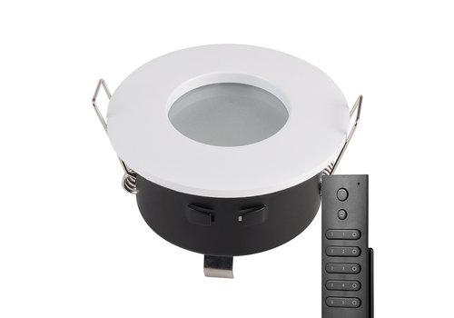 HOFTRONIC™ Set van 8 stuks LED inbouwspots Barcelona wit IP44 5 Watt 2700K dimbaar incl. afstandsbediening
