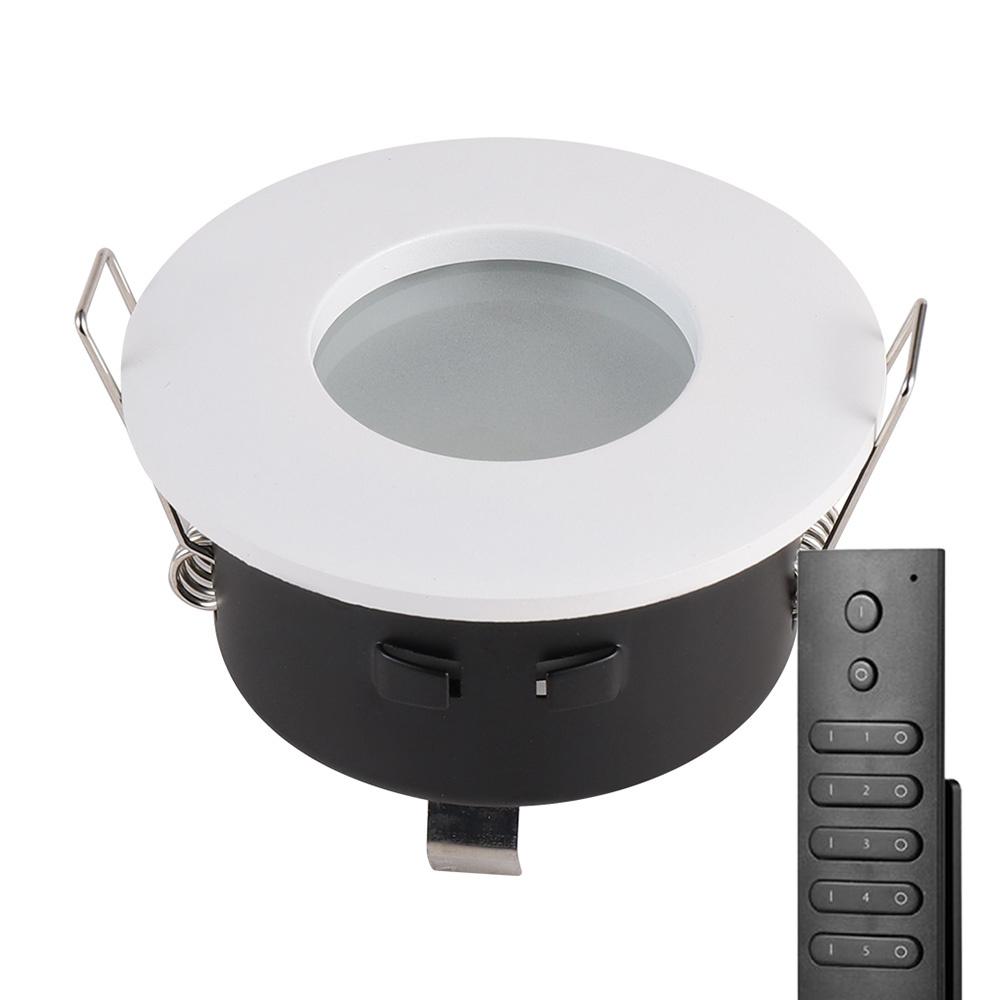 Set van 18 stuks LED inbouwspots Barcelona wit IP44 5 Watt 2700K dimbaar incl. afstandsbediening