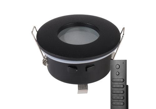 HOFTRONIC™ Set van 6 stuks dimbare LED inbouwspots Porto met 4.2 Watt spot IP44 Zwart incl. afstandsbediening