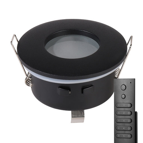HOFTRONIC™ Set of 8 dimmable LED downlights Porto 4.2 Watt spot IP44 Black incl. remote control