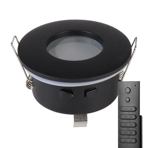 HOFTRONIC™ Set van 8 stuks dimbare LED inbouwspots Porto met 4.2 Watt spot IP44 Zwart incl. afstandsbediening