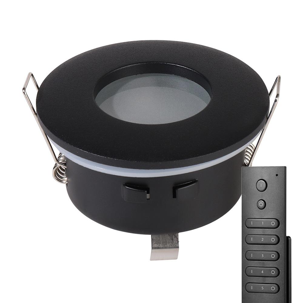 Set van 8 stuks dimbare LED inbouwspots Porto met 4.2 Watt spot IP44 Zwart incl. afstandsbediening