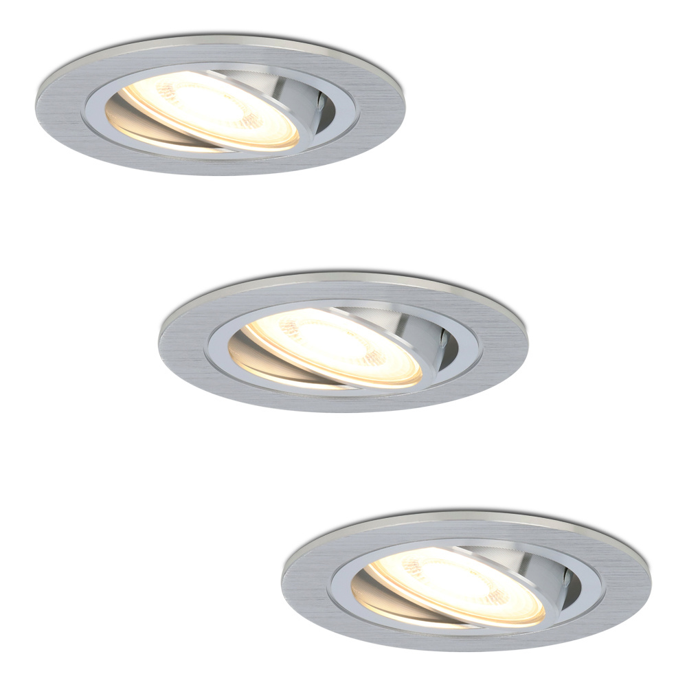 Set van 3 stuks dimbare LED inbouwspots Chandler met 5 Watt spot kantelbaar
