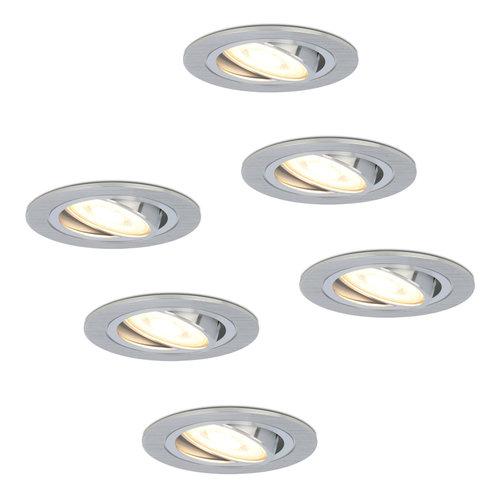HOFTRONIC™ Komplettset 6 Stück Dimmbare LED Einbaustrahler Chandler 5 Watt Spot Kippbar