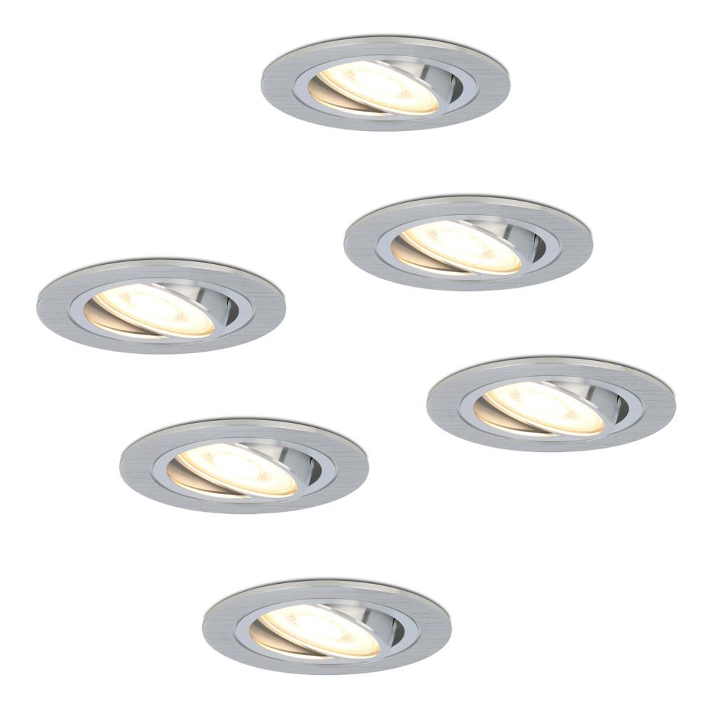 Set van 6 stuks dimbare LED inbouwspots Chandler met 5 Watt spot kantelbaar