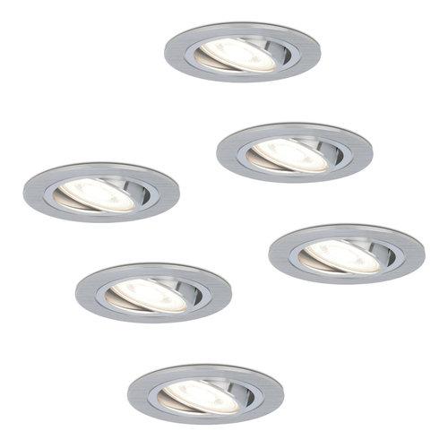 HOFTRONIC™ Set van 6 stuks dimbare LED inbouwspots Chandler met 5 Watt 6400K spot kantelbaar