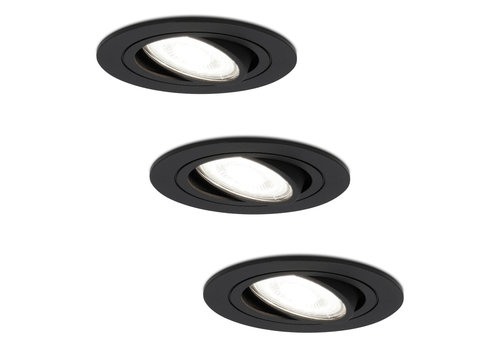 HOFTRONIC™ Set of 3 dimmable LED downlights Miro 5 Watt 6000K daylight white tiltable IP20