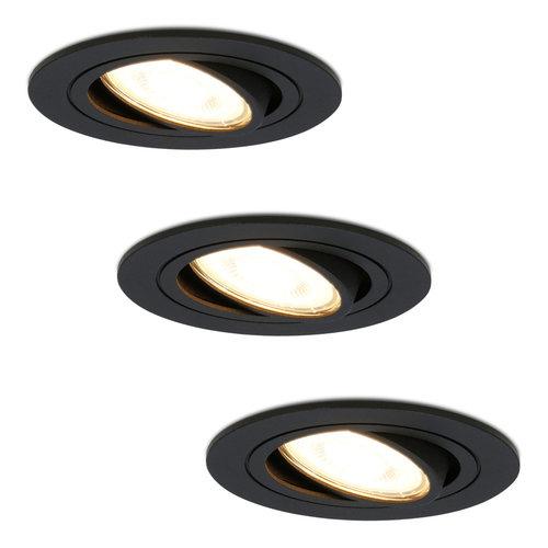 HOFTRONIC™ Set van 3 dimbare LED inbouwspots Miro 5 Watt 2700K warm wit kantelbaar