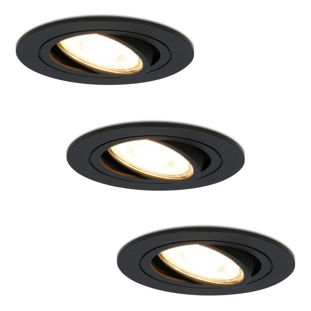 Set van 3 dimbare LED inbouwspots Miro 4.2 Watt 2700K warm wit kantelbaar