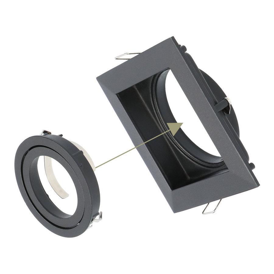 Dimbare LED inbouwspot Durham 5 Watt 6000K zwart kantelbaar IP20