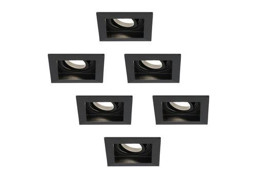 HOFTRONIC™ Set van 6 dimbare LED inbouwspot Durham 5 Watt 4000K zwart kantelbaar IP20