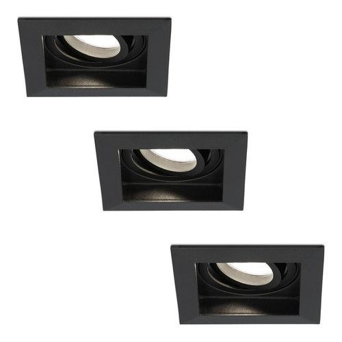 HOFTRONIC™ Set van 3 stuks dimbare LED inbouwspot Durham 5 Watt 4000K zwart kantelbaar IP20