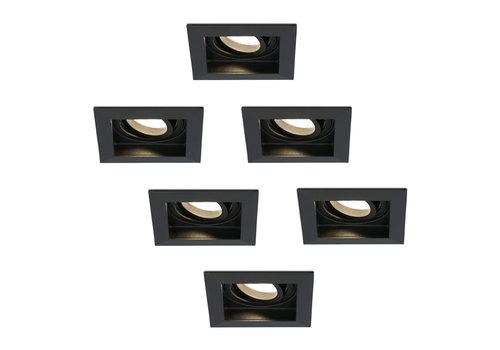 HOFTRONIC™ Set van 6 stuks dimbare LED inbouwspot Durham 4.2 Watt 2700K zwart kantelbaar IP20