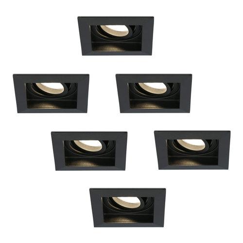 HOFTRONIC™ Set of 6 dimmable LED downlight Durham 5 Watt 2700K black tiltable  IP20