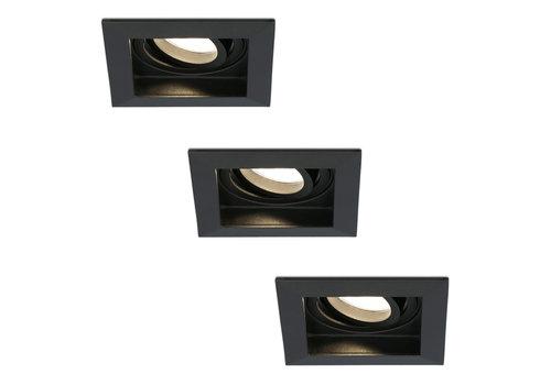 HOFTRONIC™ Set van 3 stuks dimbare LED inbouwspot Durham 4.2 Watt 2700K zwart kantelbaar IP20
