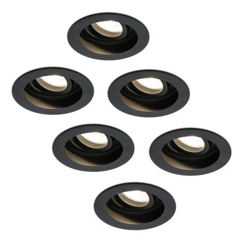 HOFTRONIC™ Set van 6 stuks dimbare LED inbouwspot Laredo 4.2 Watt 2700K zwart kantelbaar IP20
