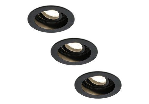 HOFTRONIC™ Set van 3 stuks dimbare LED inbouwspot Laredo 4.2 Watt 2700K zwart kantelbaar IP20