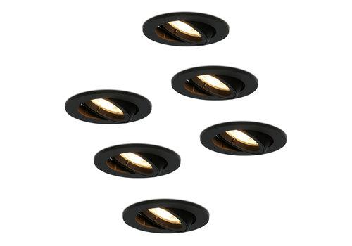 HOFTRONIC™ Set van 6 stuks zwarte dimbare LED inbouwspots Oslo 5 Watt kantelbaar