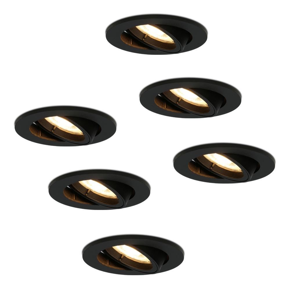 Set van 6 stuks zwarte dimbare LED inbouwspots Oslo 4.2 Watt kantelbaar