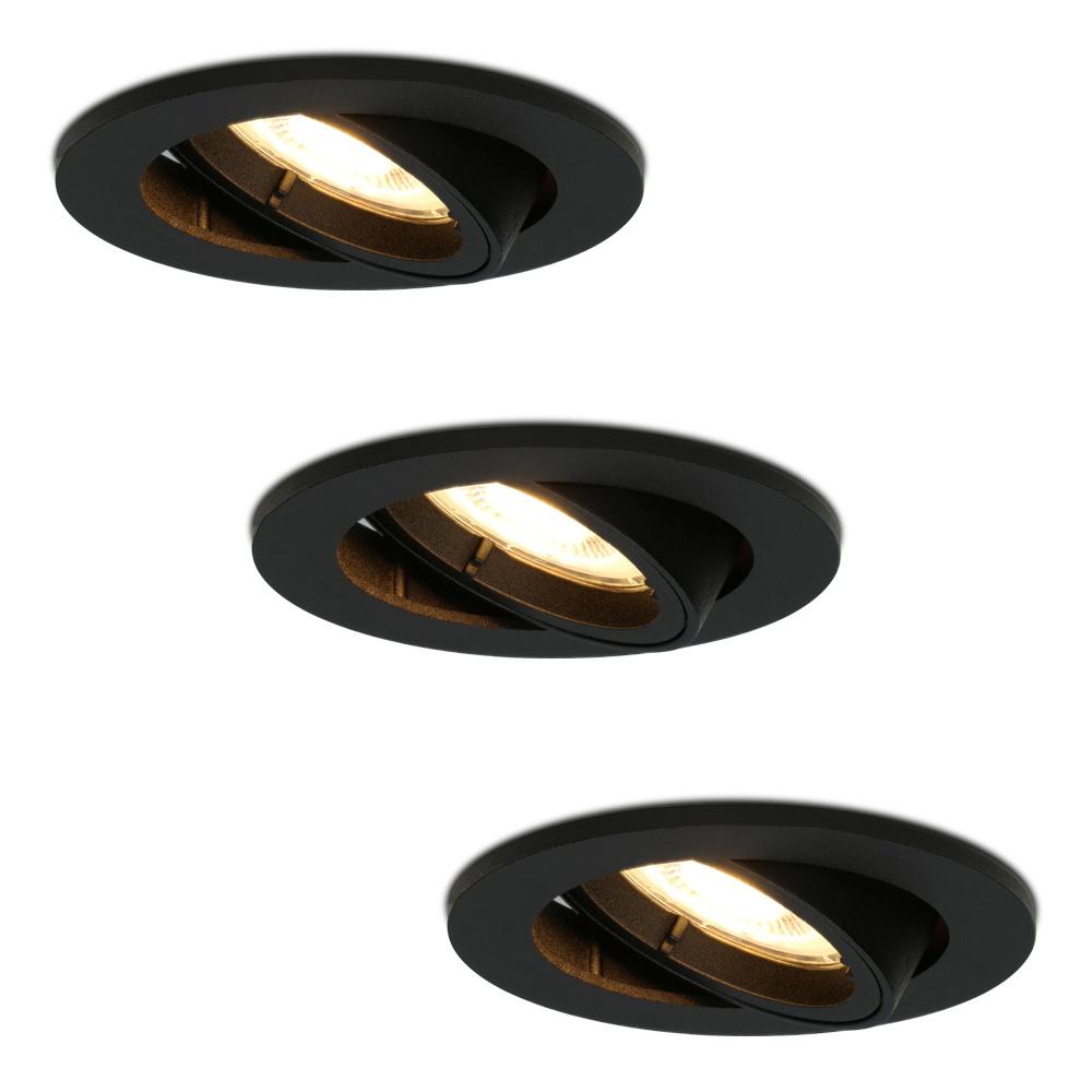 Set van 3 stuks zwarte dimbare LED inbouwspots Oslo 5 Watt kantelbaar