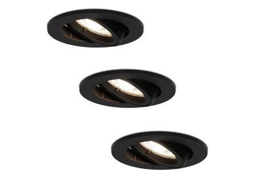 HOFTRONIC™ Set of 3 black dimmable LED downlights Oslo 5 Watt 4000K tiltable