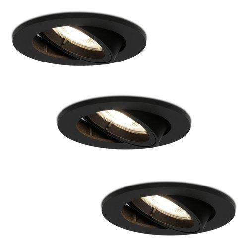 HOFTRONIC™ Set van 3 stuks zwarte dimbare LED inbouwspots Oslo 5 Watt 4000K  kantelbaar