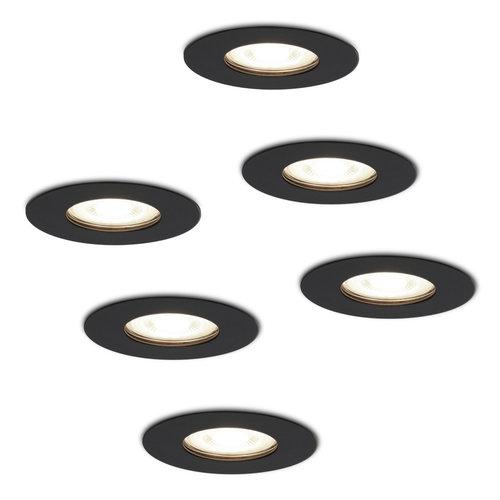 HOFTRONIC™ Set of 6 dimmable LED spotlights Bari black GU10 5 Watt 4000K IP65 splashproof