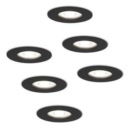 HOFTRONIC™ Set van 6 dimbare LED inbouwspots Bari zwart GU10 5 Watt 6400K IP65 spatwaterdicht