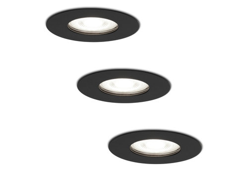 HOFTRONIC™ Set of 3 dimmable LED spotlights Bari black GU10 5 Watt 6000K IP65 splashproof